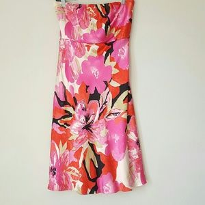 Banana Republic silk floral strapless dress